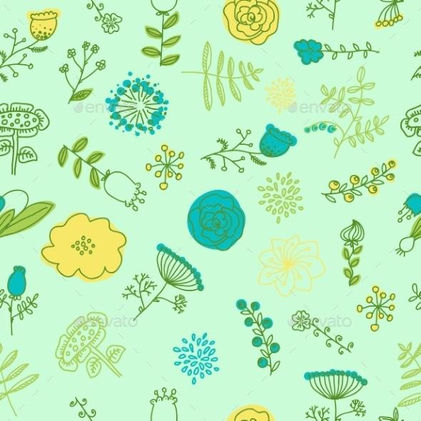 Elegance Seamless Pattern with Flowers - Flourishes / Swirls Decorative
