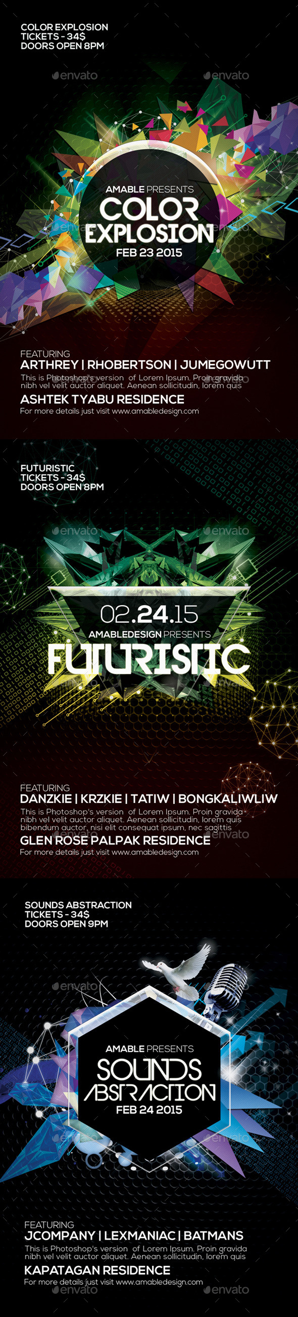 3 PSD Futuristic Flyer Bundle - Clubs & Parties Events