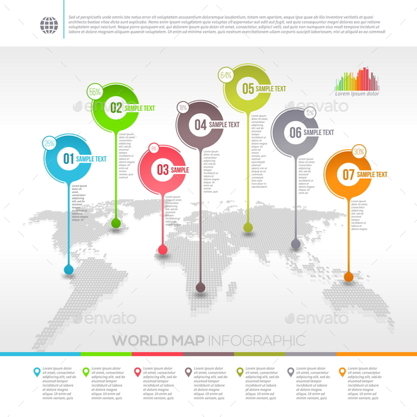 World Map Infographic with Map Pointers - Concepts Business