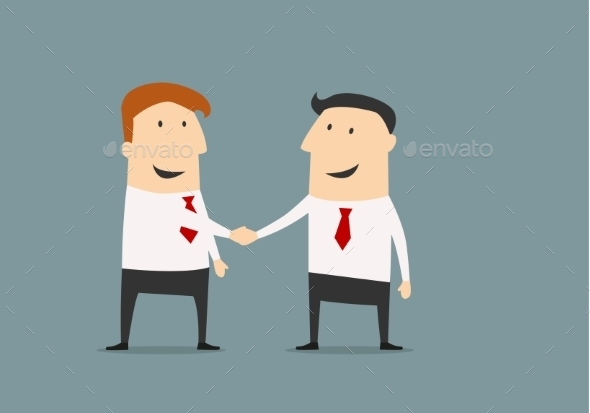 Cartooned Businessmen Shaking Hands - Concepts Business