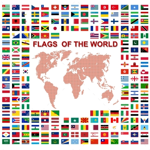 Flags of the world with Map  - Web Technology