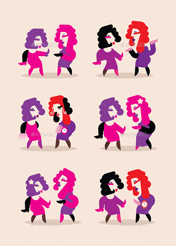 Two Dancing Women - People Characters