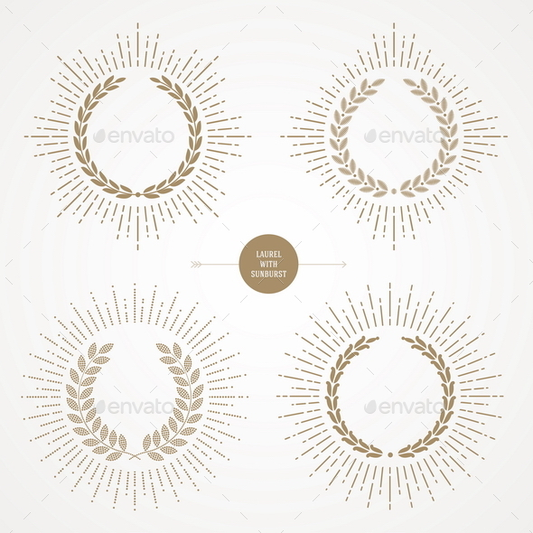 Set of Laurel Wreath With Sunburst - Decorative Vectors
