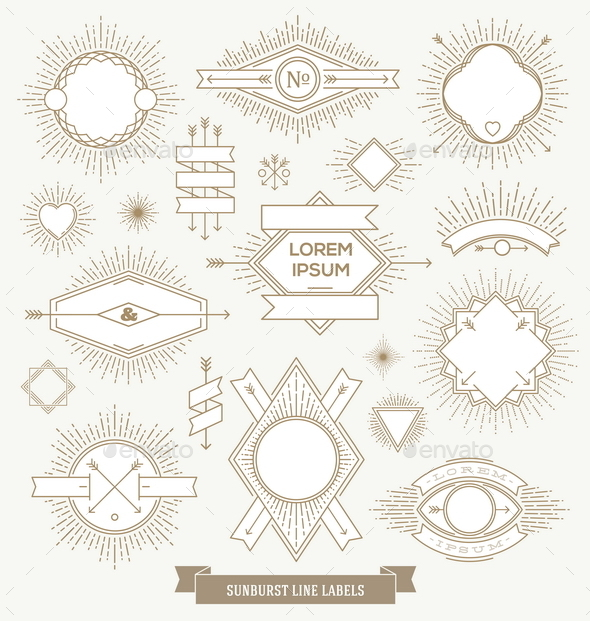 Hipster Line Labels and Emblem with Sunburst  - Decorative Vectors