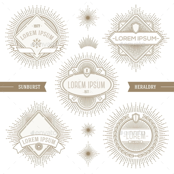 Set of Line Heraldic Emblems with Sunburst - Decorative Vectors