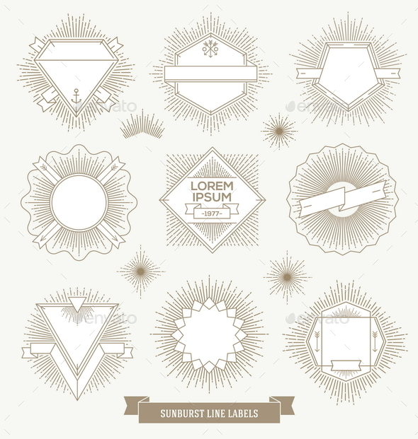 Hipster Labels and Emblems with Sunburst  - Decorative Vectors