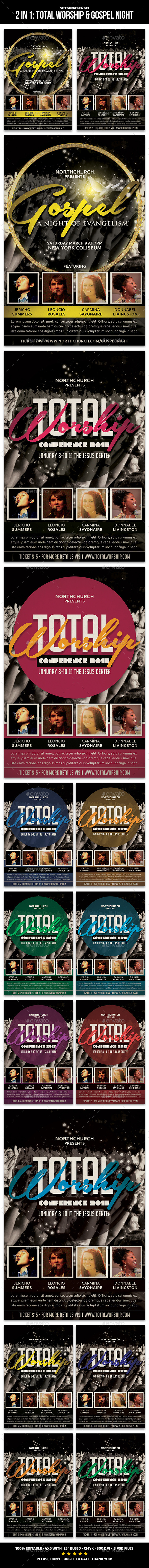2 in 1 Church Flyer: Total Worship and Gospel Night - Church Flyers