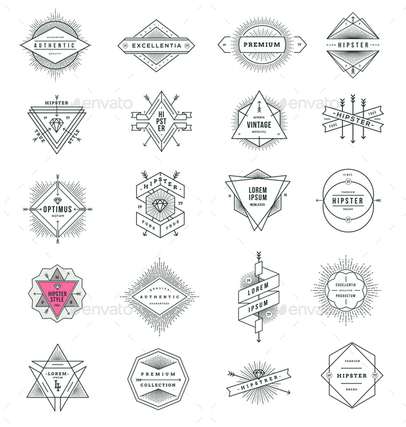 Set of Hipster Line Signs and Emblems - Vectors