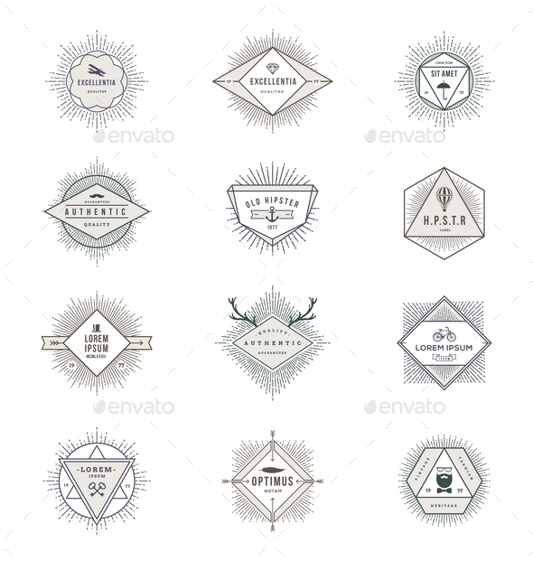 Set of Hipster Signs and Emblems with Sunburst - Vectors