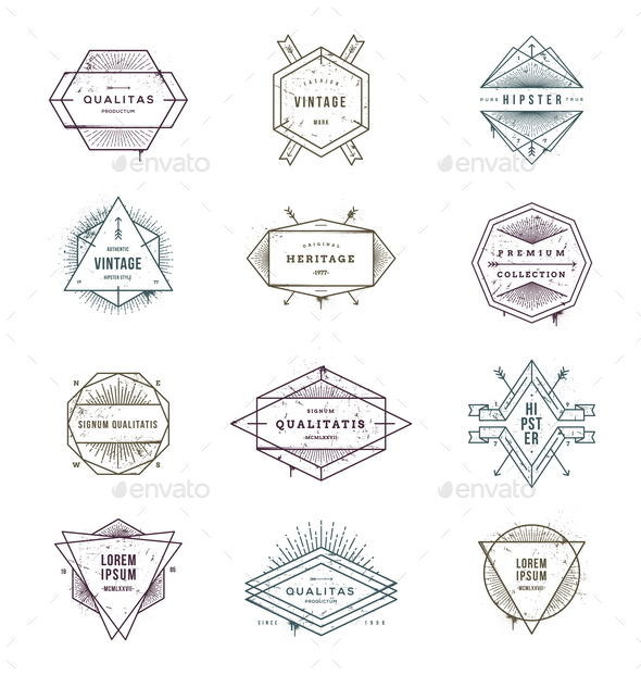 Set of Grunge Hipster Signs and Emblems - Vectors