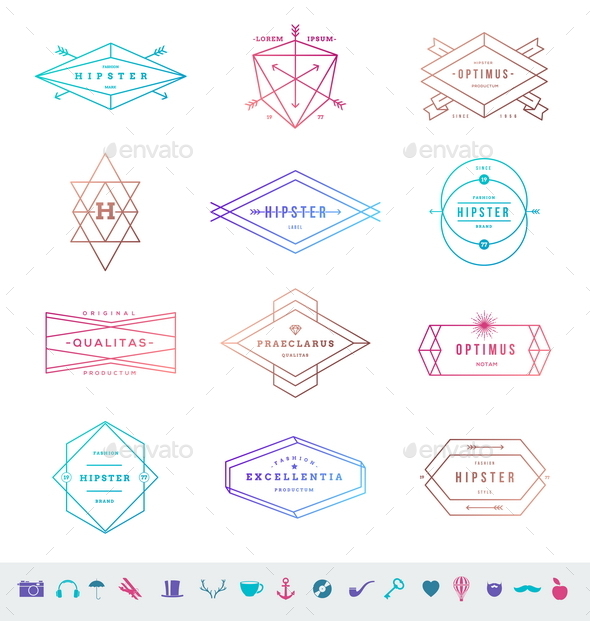 Set of Hipster Line Emblems and Signs - Vectors