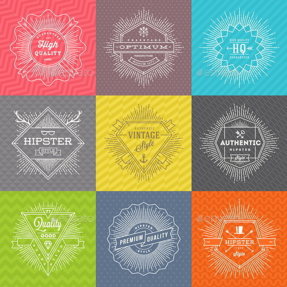 Set of Line Signs and Emblems with Hipster Symbols - Vectors