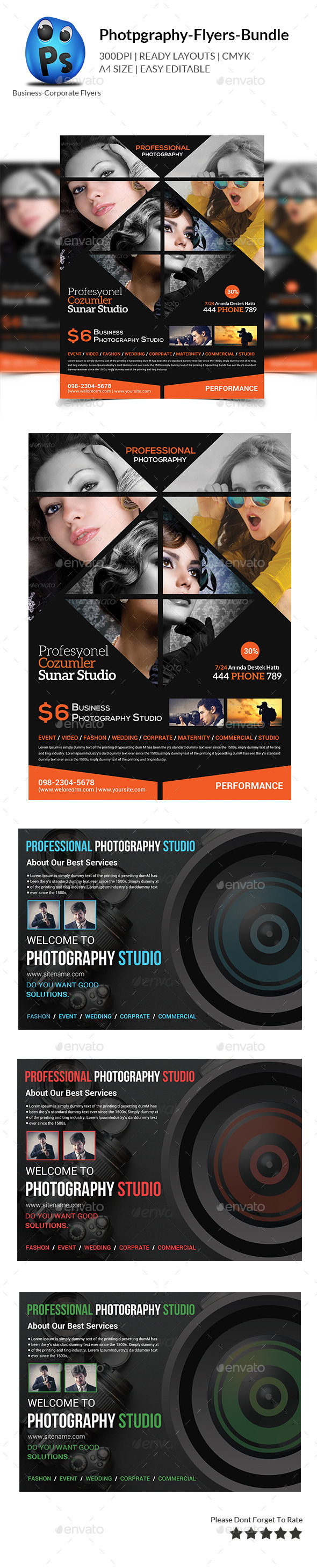 Photography Flyer Bundle Print Templates  - Corporate Flyers