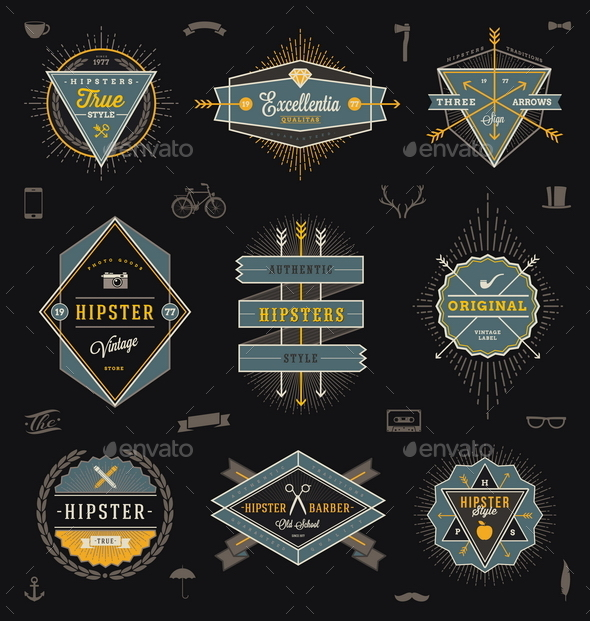 Set of Hipster Emblems, Labels and Sign - Vectors
