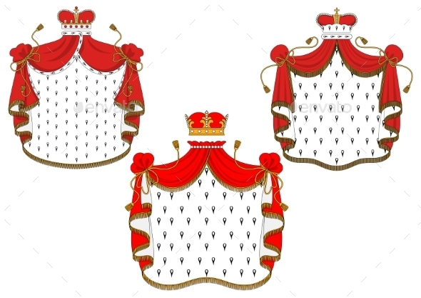 Royal Red Velvet Mantels with Golden Crowns - Decorative Symbols Decorative