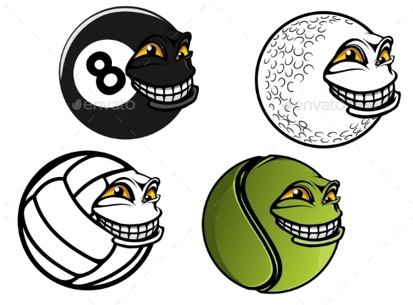 Cartoon Sport Balls - Miscellaneous Characters
