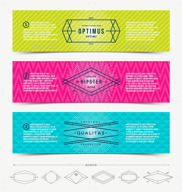 Abstract Banner with Line Hipster Emblems - Vectors