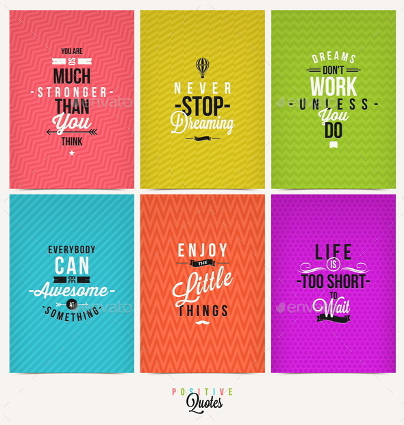 Set of Positive Quote Typographical Background - Conceptual Vectors