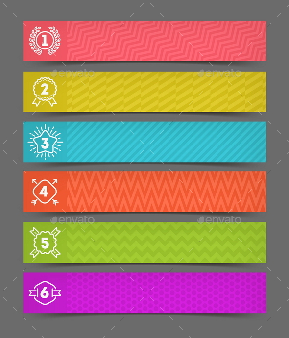 Abstract Banner with Hipster Numbered Emblems - Vectors