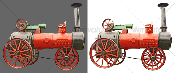 Antique steam tractor - Industrial & Science Isolated Objects