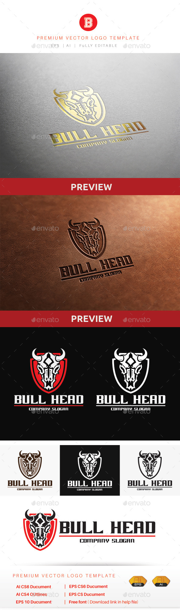 Bull Head V.2 - Animals Logo Templates