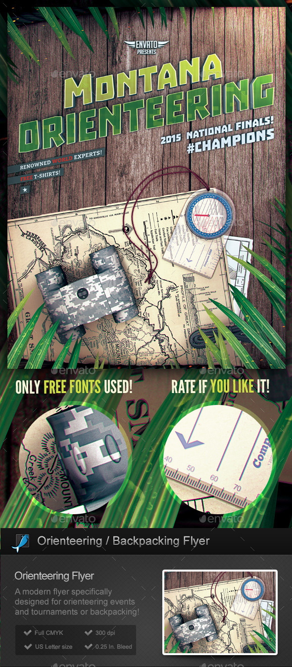 Orienteering - Backpacking Flyer Template - Sports Events