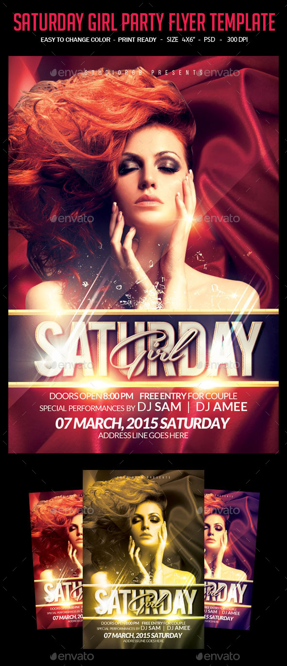 Saturday Girl Party Flyer Template - Clubs & Parties Events