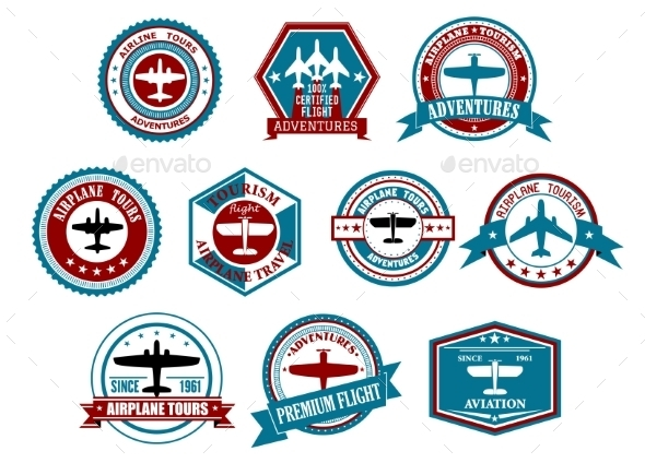 Aviation labels or badges in retro style - Travel Conceptual
