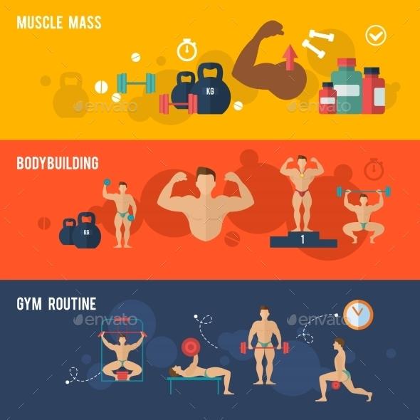 Bodybuilding Banner Set - Sports/Activity Conceptual