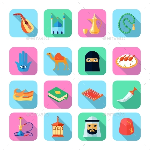 Arabic Culture Icon Flat - Web Elements Vectors