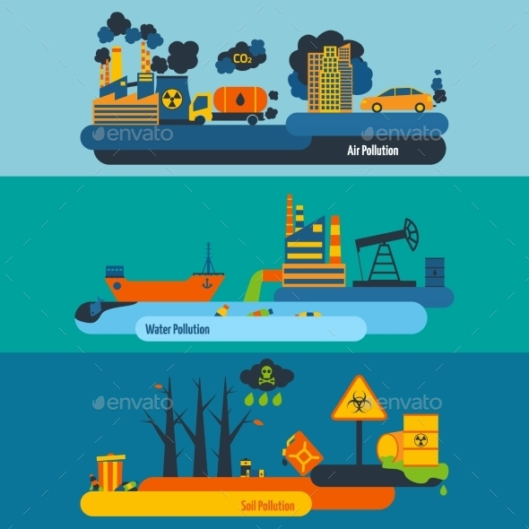 Pollution Banner Set - Industries Business