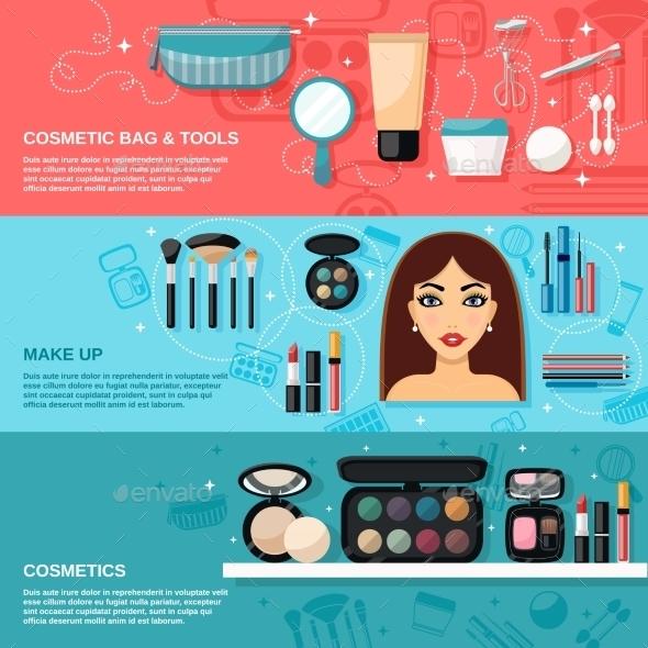 Makeup Banner Set - Objects Vectors