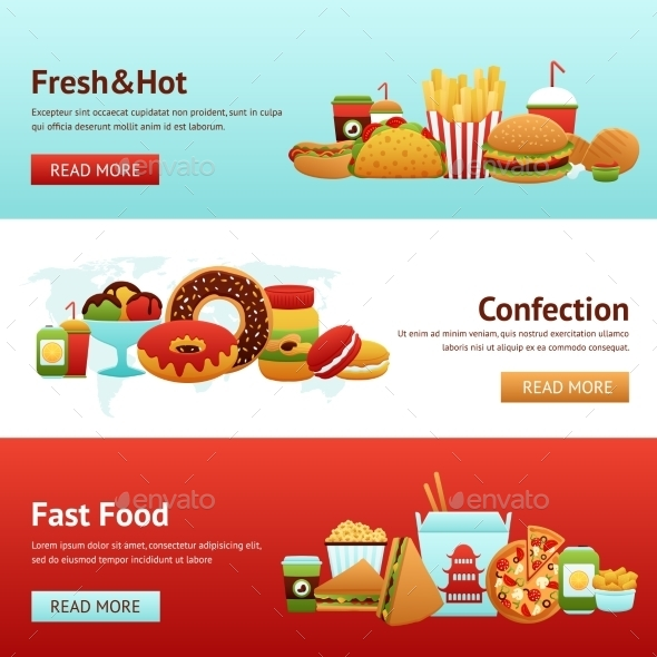 Fast Food Banner Set - Food Objects