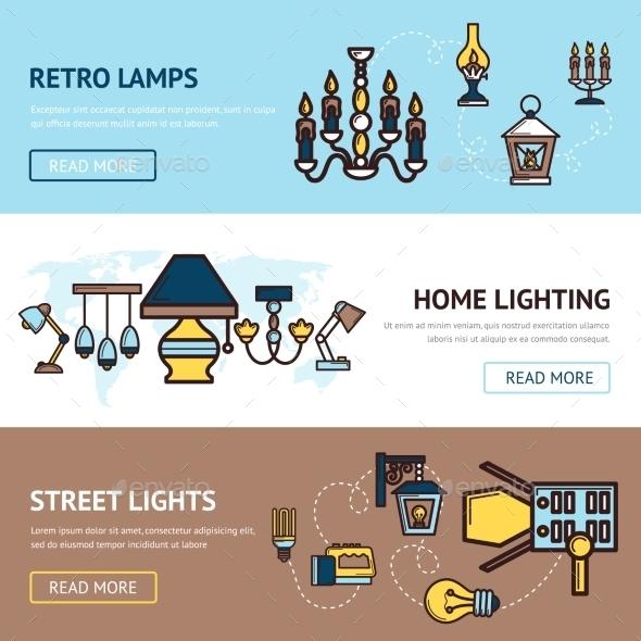 Light Banners Set - Retro Technology