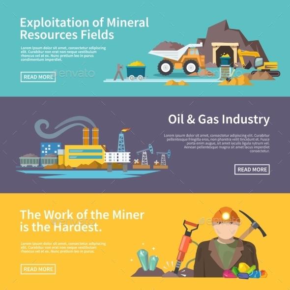 Miner Banner Set - Industries Business