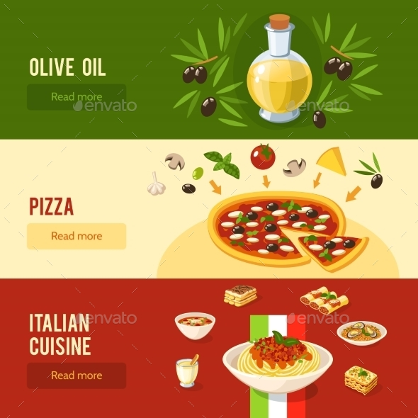 Italian Food Banner Set - Food Objects