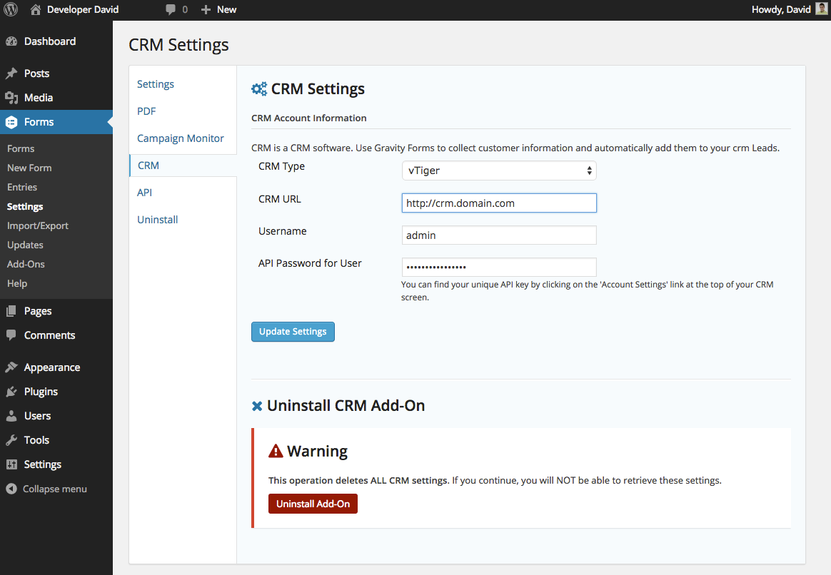 Gravity Forms CRM Addon