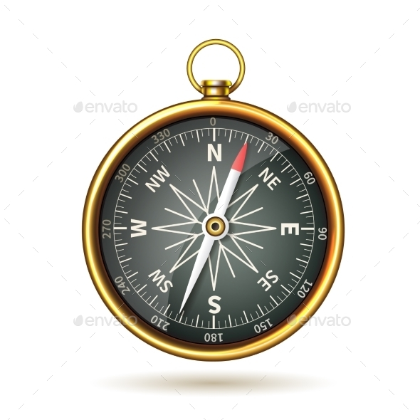 Compass Realistic Isolated - Travel Conceptual