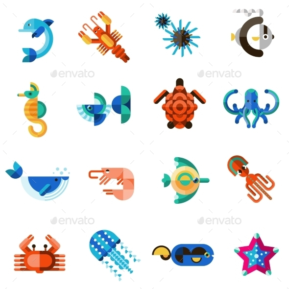 Sea Creatures Set - Animals Characters