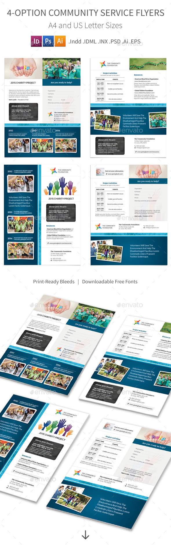 Community Service Flyers – 4 Options - Corporate Flyers