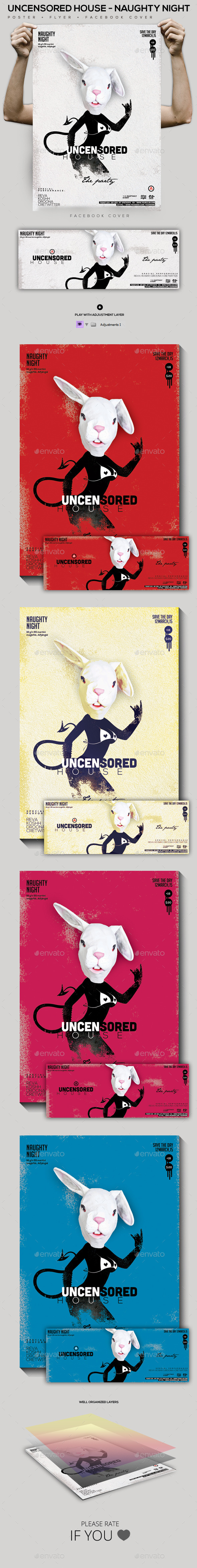 Uncensored House Flyer/Poster/Facebook Cover - Clubs & Parties Events