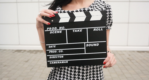 Girl With Slate Board Starting Film Process