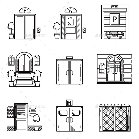 Black Contour Door Icons - Buildings Objects