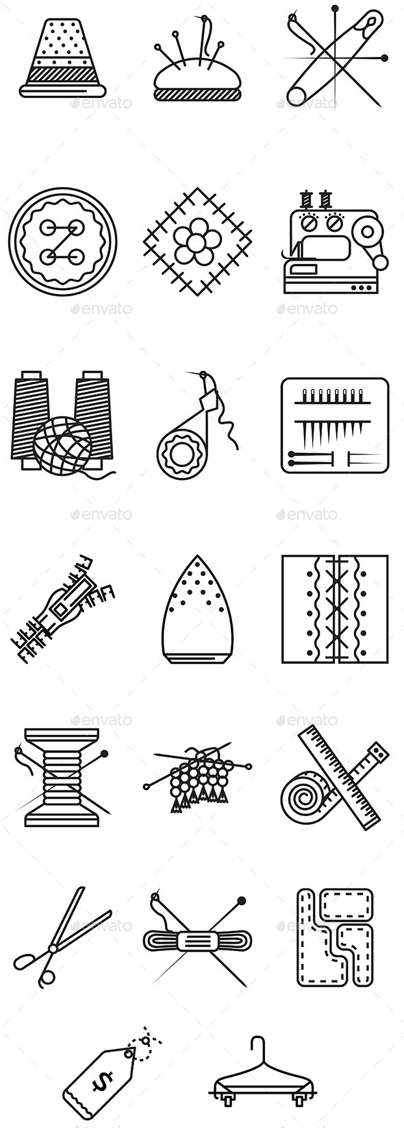 Sewing Icons - Man-made Objects Objects