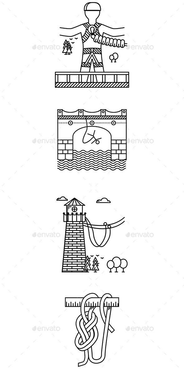 Black Outline Icons for Rope Jumping - Sports/Activity Conceptual