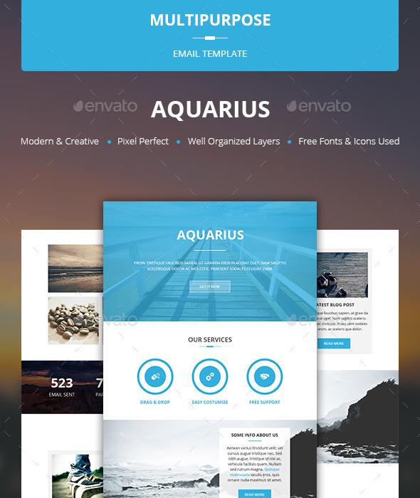 Aquarius - Multipurpose Email Template - E-newsletters Web Elements