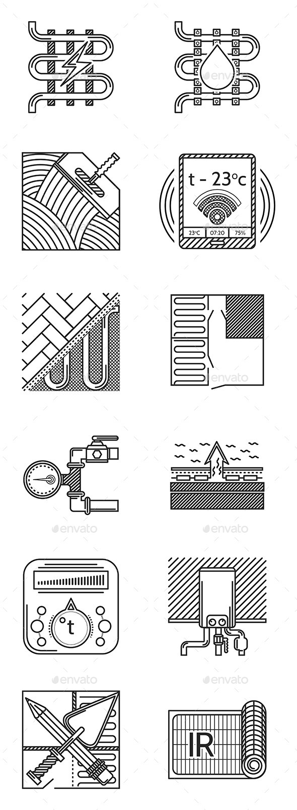Heated Floor Icons - Miscellaneous Vectors