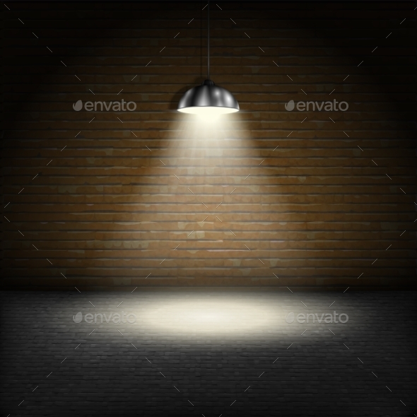 Spotlight on Brick Wall Background - Backgrounds Decorative