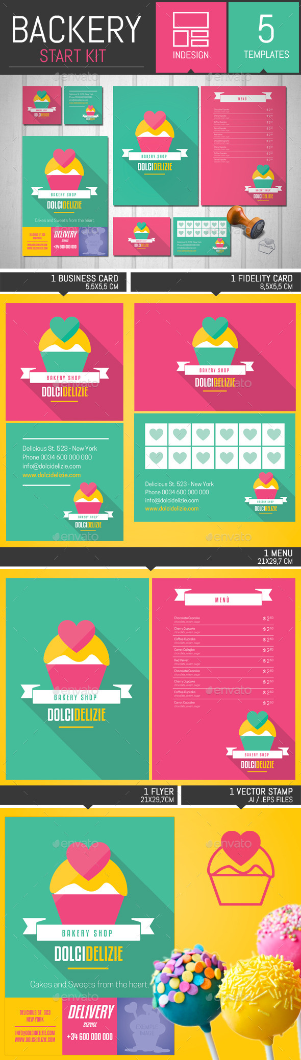 Material Design Bakery Start Kit Template - Stationery Print Templates