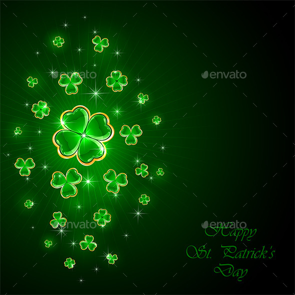 Green Background with Clover - Backgrounds Decorative